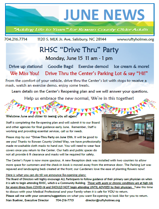 June Newsletter of Rufty-Holmes Senior Center