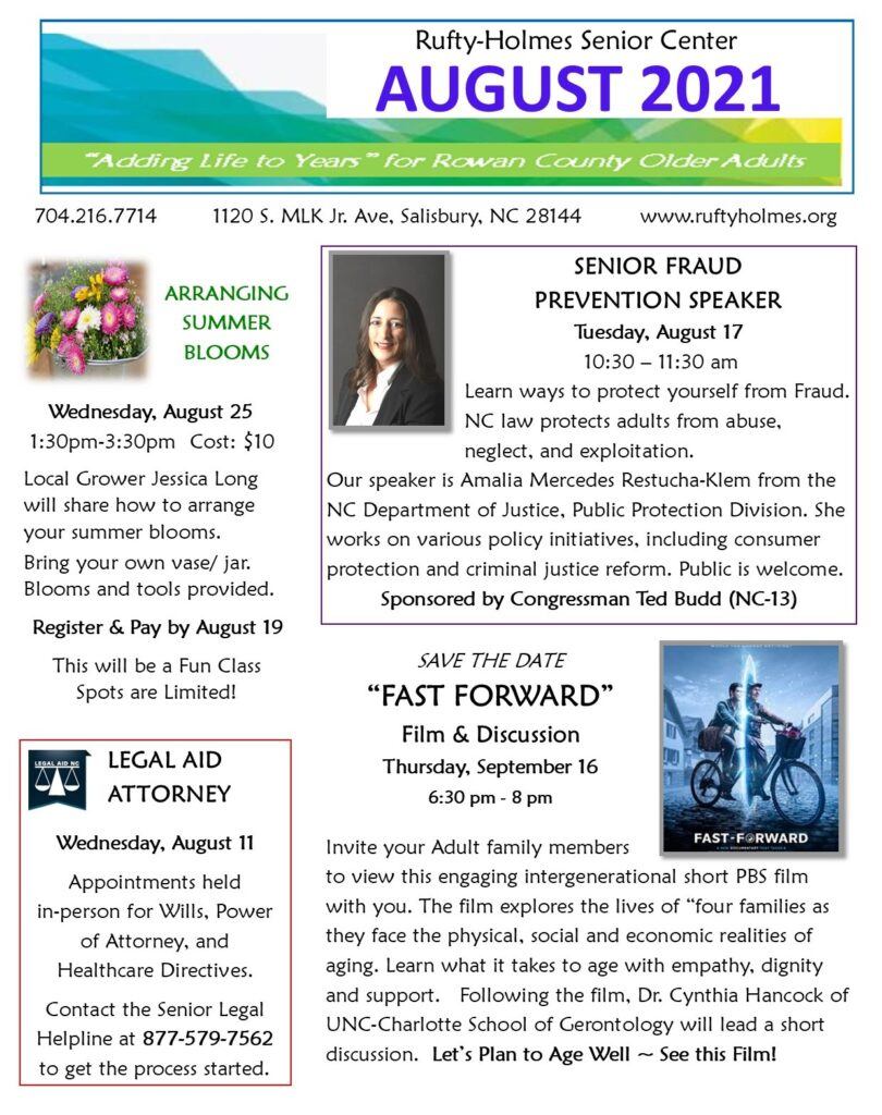 Click to see full August Newsletter of Rufty-Holmes Senior Center
